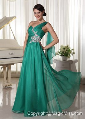 Turquosie One Shoulder Appliques and Ruch Decorate Bust Chiffon Prom Dress For Formal Evening