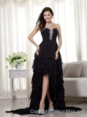 Black A-line Sweetheart High-low Chiffon Beading Prom Dress