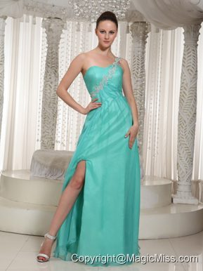 Customize Turquoise High Slit Prom Dress For Party 2013