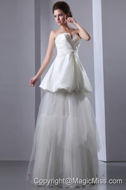 Gorgeous A-line Strapless Floor-length Taffeta and Tulle Wedding Dress