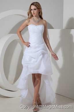 Elegant A-line / Princess Strapless High-low Organza Bow and Beading Wedding Dress