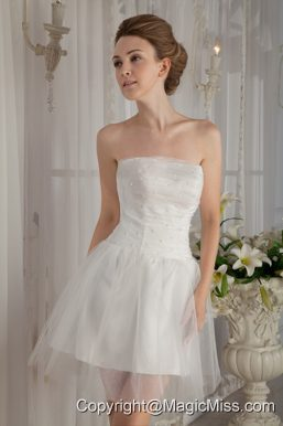 Sweet A-Line / Princess Strapless Mini-length Organza Beading Wedding Dress