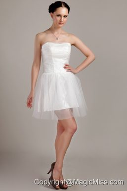 White A-line / Princess Strapless Mini-length Organza Beading and Ruch Wedding Dress