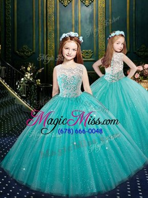 Wonderful Scoop Sleeveless Clasp Handle Little Girl Pageant Gowns Blue Tulle