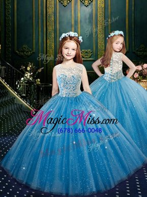 Custom Designed Scoop Blue Sleeveless Floor Length Appliques Clasp Handle Little Girls Pageant Dress Wholesale