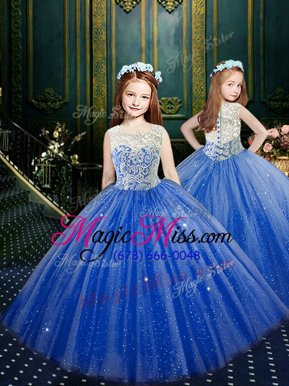Unique Scoop Sleeveless Clasp Handle Floor Length Appliques Little Girls Pageant Gowns