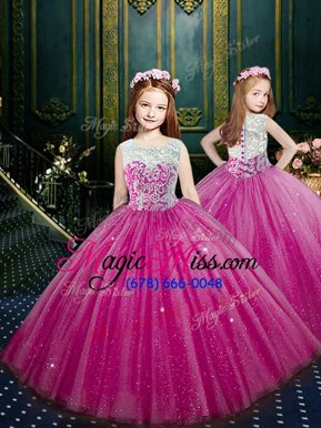 Top Selling Ball Gowns Child Pageant Dress Eggplant Purple Scoop Tulle Sleeveless Floor Length Clasp Handle