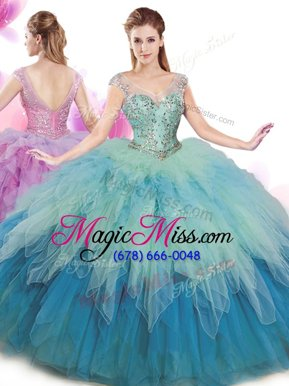 Deluxe Multi-color Ball Gowns Tulle V-neck Cap Sleeves Beading and Ruffles Floor Length Lace Up Quince Ball Gowns