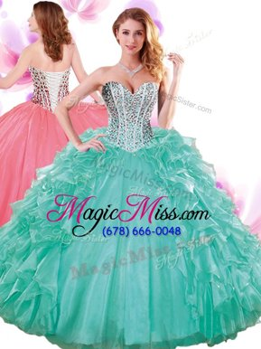 High Class Sleeveless Organza Floor Length Lace Up Sweet 16 Dresses in Turquoise for with Beading and Ruffles