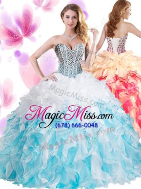 Blue And White Sleeveless Organza Lace Up Vestidos de Quinceanera for Military Ball and Sweet 16 and Quinceanera