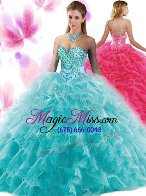 Edgy Teal Ball Gowns Organza Sweetheart Sleeveless Beading and Ruffles Floor Length Lace Up Sweet 16 Quinceanera Dress