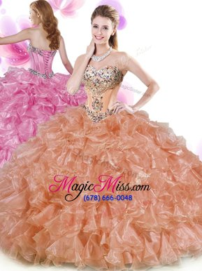 Beading and Ruffles Quinceanera Dresses Rust Red and Peach Lace Up Sleeveless Floor Length
