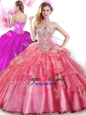 Glorious Coral Red Organza Lace Up Sweetheart Sleeveless Floor Length Vestidos de Quinceanera Beading and Appliques