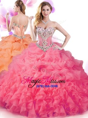 Smart Sweetheart Sleeveless Organza Quinceanera Gowns Beading and Ruffles and Pick Ups Lace Up