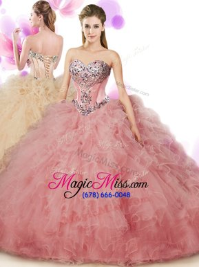 Fitting Peach Sleeveless Beading and Ruffles Floor Length Quinceanera Dress