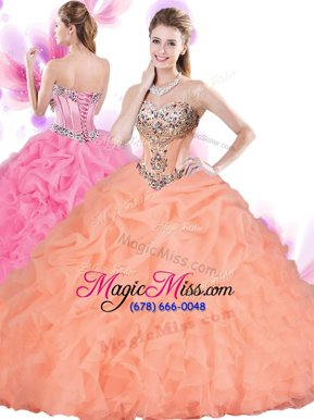 Charming Orange Red Lace Up 15 Quinceanera Dress Beading and Ruffles Sleeveless Floor Length