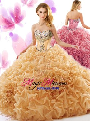 Elegant Orange Ball Gowns Organza Sweetheart Sleeveless Beading and Ruffles Lace Up Quinceanera Gown Court Train