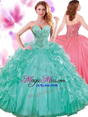 Great Turquoise Sleeveless Beading and Ruffles and Pick Ups Floor Length Quince Ball Gowns