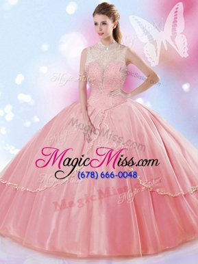 Flirting Tulle Sleeveless Floor Length Sweet 16 Dress and Beading