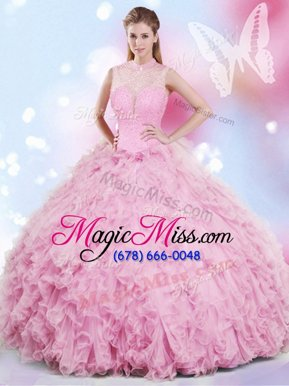 Suitable Rose Pink Tulle Lace Up Halter Top Sleeveless Floor Length Sweet 16 Dress Beading and Ruffles
