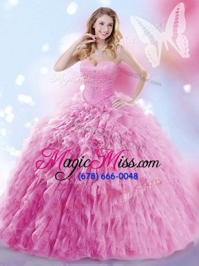 Exceptional Rose Pink Sleeveless Beading and Ruffles Lace Up 15th Birthday Dress