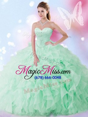 Fantastic Apple Green Organza Lace Up Sweet 16 Quinceanera Dress Sleeveless Floor Length Beading and Ruffles