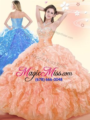 Fashion Floor Length Lace Up Ball Gown Prom Dress Orange and In for Military Ball and Sweet 16 and Quinceanera with Beading and Ruffles and Pick Ups