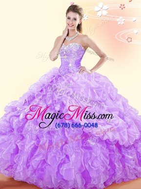 Charming Sleeveless Beading and Ruffles and Pick Ups Lace Up Quinceanera Gowns