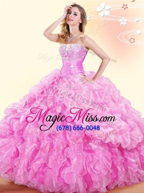 New Style Sweetheart Sleeveless Organza Sweet 16 Quinceanera Dress Beading and Ruffles and Pick Ups Lace Up