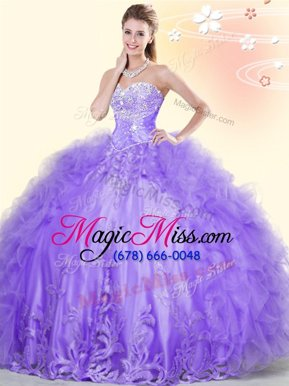 Popular Lavender Tulle Lace Up Sweetheart Sleeveless Floor Length Quince Ball Gowns Beading and Appliques and Ruffles