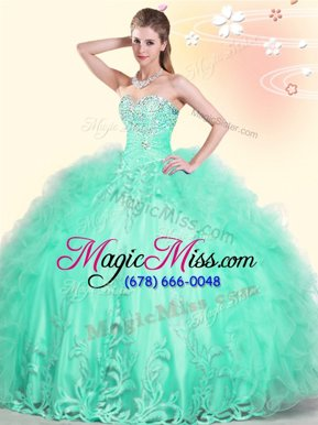 Chic Apple Green Sleeveless Tulle Lace Up Quinceanera Gown for Military Ball and Sweet 16 and Quinceanera