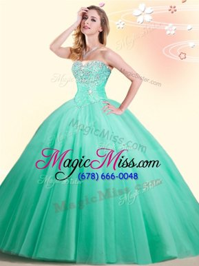 Best Selling Tulle Sleeveless Floor Length 15th Birthday Dress and Beading