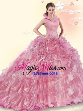 Designer Beading and Ruffles 15th Birthday Dress Pink Backless Sleeveless Brush Train