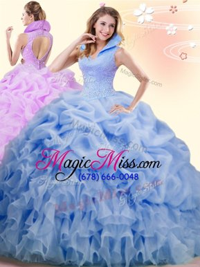 Nice Backless High-neck Sleeveless Sweet 16 Dress Brush Train Beading and Ruffles and Pick Ups Blue Organza