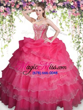 Popular Coral Red Sweetheart Lace Up Beading and Ruffled Layers and Pick Ups Quinceanera Gown Sleeveless