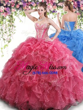 Suitable Coral Red Organza Lace Up Sweetheart Sleeveless Floor Length 15 Quinceanera Dress Beading and Ruffles