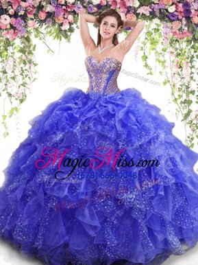 Flirting Blue Ball Gowns Organza Sweetheart Sleeveless Beading and Ruffles Floor Length Lace Up Sweet 16 Dress