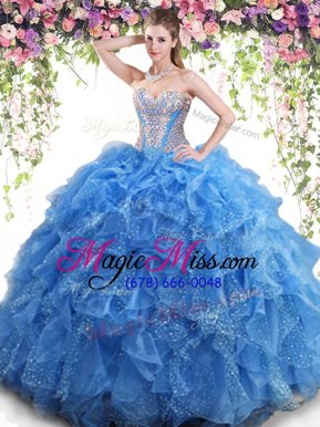 Modern Mermaid Organza Sweetheart Sleeveless Lace Up Beading and Ruffles 15 Quinceanera Dress in Aqua Blue