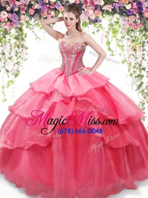 Deluxe Ruffled Ball Gowns Quinceanera Dress Coral Red Sweetheart Organza Sleeveless Floor Length Lace Up