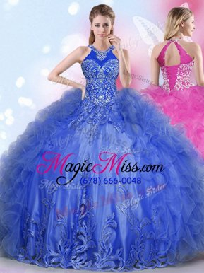 Superior Halter Top Tulle Sleeveless Floor Length Sweet 16 Quinceanera Dress and Appliques and Ruffles