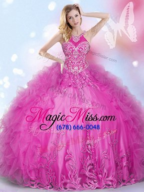 Fancy Hot Pink Sweet 16 Dresses Military Ball and Sweet 16 and Quinceanera and For with Beading and Appliques and Ruffles Halter Top Sleeveless Lace Up
