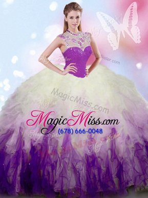 Sleeveless Floor Length Beading and Ruffles Zipper Sweet 16 Dresses with White And Purple