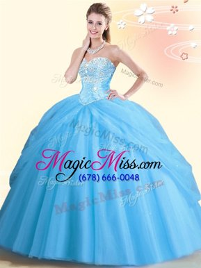 Trendy Aqua Blue Tulle Lace Up Quinceanera Dresses Sleeveless Floor Length Beading