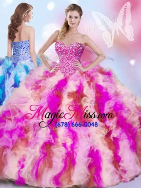 High Quality Multi-color Lace Up Sweetheart Beading and Ruffles Sweet 16 Quinceanera Dress Organza Sleeveless