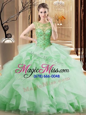 Fantastic Brush Train Ball Gowns Quinceanera Dresses Scoop Tulle Sleeveless Lace Up