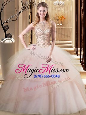 Excellent Scoop Peach Ball Gowns Beading and Ruffled Layers 15th Birthday Dress Lace Up Tulle Sleeveless
