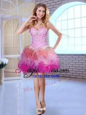 Amazing Multi-color Tulle Lace Up Sweetheart Sleeveless Mini Length Club Wear Beading