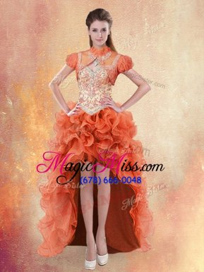 Custom Design Straps Straps High Low Orange Red Cocktail Dress Organza Sleeveless Beading and Ruffles