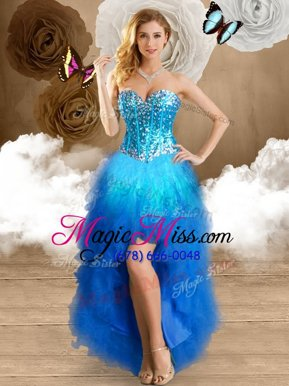 Custom Design Sleeveless Lace Up High Low Beading and Ruffles Pageant Dresses