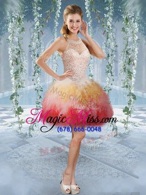 Fancy Halter Top Multi-color Ball Gowns Beading and Embroidery Prom Gown Lace Up Tulle Sleeveless Mini Length